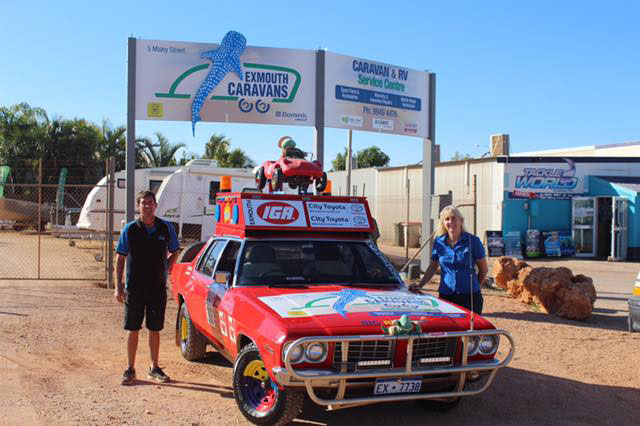 Exmouth Caravans Team with the Variety Bash 308 Car.