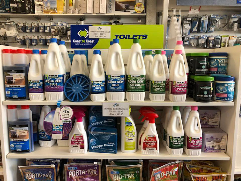 Exmouth Caravans huge range of caravan and portable toilet chemicals